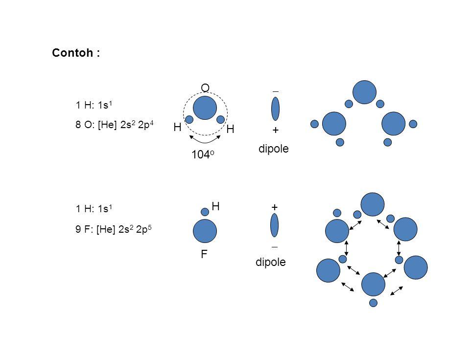 Contoh : O  H + dipole 104o H +  F dipole 1 H: 1s1 8 O: [He] 2s2 2p4